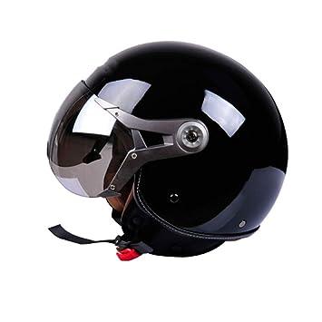 WEGCJU Casco De La Motocicleta Vintage Unisex Open Face 3/4 Cascos Jet Helm Scooter