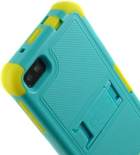 Beyond Cell Tri Shield Case for BlackBerry Z10 - Retail Packaging - Light Blue/Yellow ()