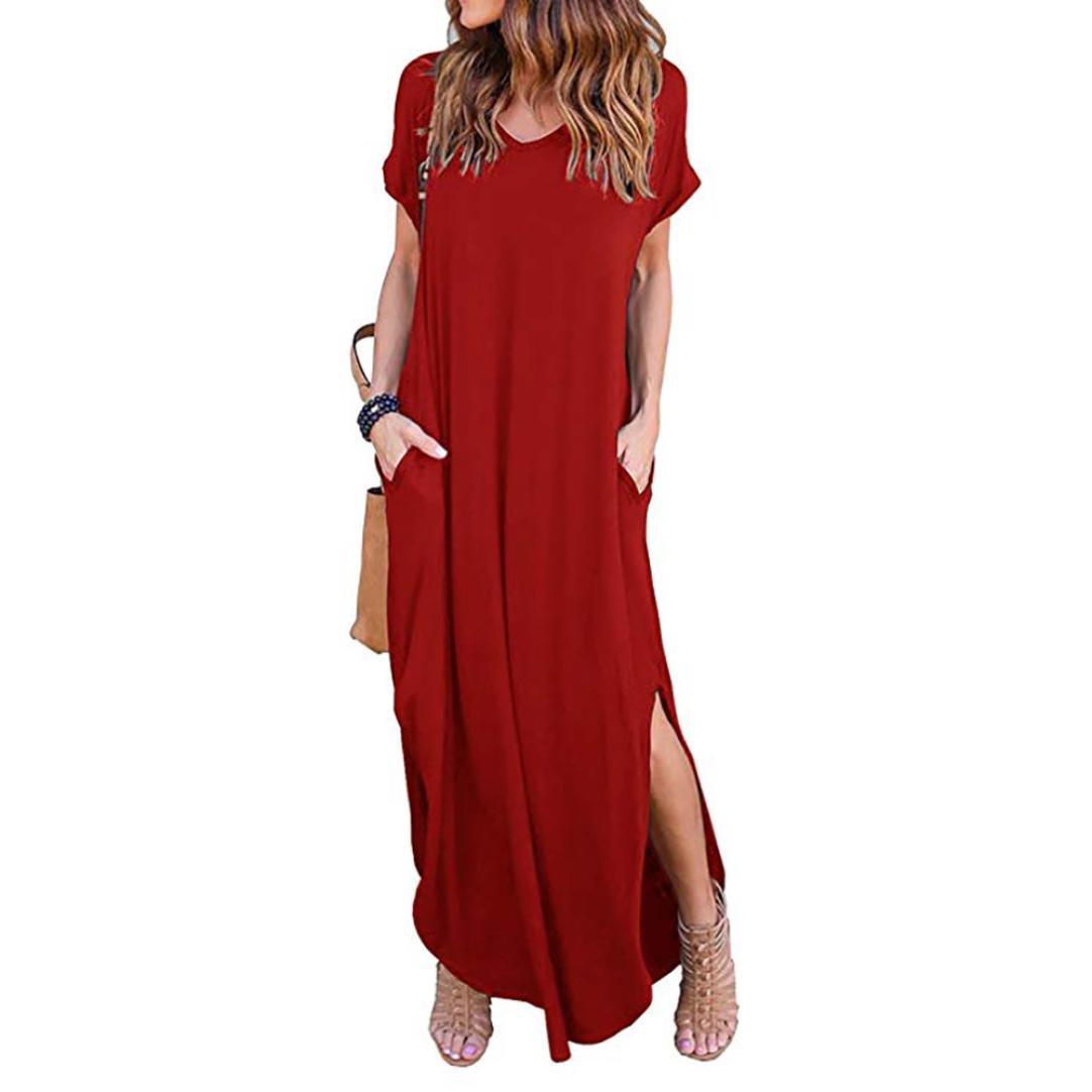 44bd285d4147 Trada_Casual Abito/Abito lungo a maniche lunghe con scollo a V e maniche  lunghe da donna/Casual Cocktail Abito/Elegante(Rosso,2XL): Amazon.it:  Abbigliamento