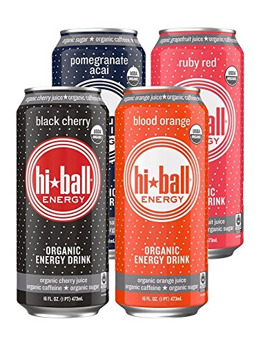 Hiball Energy Organic Juice Drink, Pomegranate Acai, Ruby Red, Black Cherry, and Blood Orange, Variety Pack, 16 Ounce, 12 Count