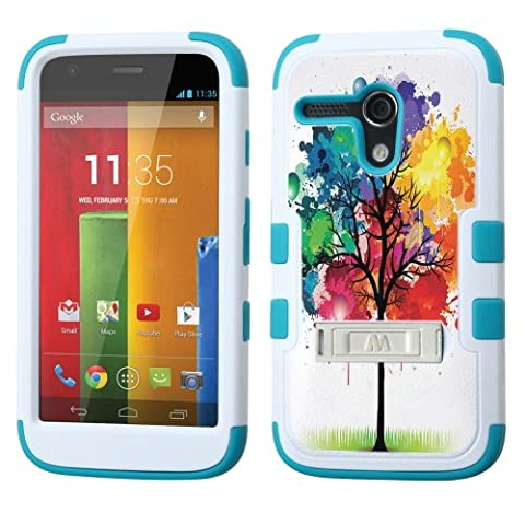 UNQUITI MOTOROLA MOTO G 4G LTE Case - TuMax Hybrid Cover(White TEAL) - DESIGN (Watercolor Tree) (Water Cover Motorola)