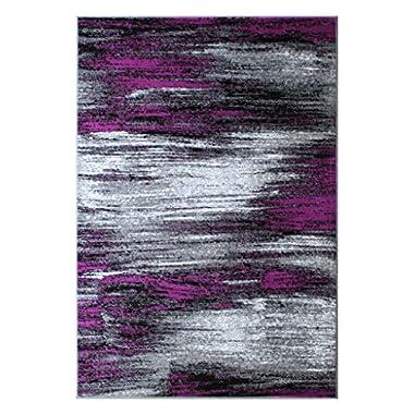 Masada Rugs, Modern Contemporary Area Rug, Purple Grey Black (8 Feet X 10 Feet)