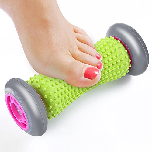 Foot Massage Roller for Plantar Fasciitis Heel Arch Pain Acupressure Reflexology Tool for Relaxation Stress Muscle Soreness Tightness and Cramps Relief Silicone Green -by Eastshining