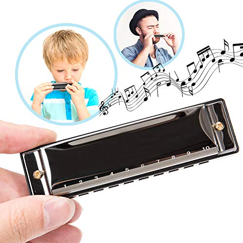 Harmonica for Beginners, Kids and Adults, Diatonic Mini Musical Instrument Toy for Toddlers, Key of C with 10 Holes and 20 Tones for Music Blues, Mouth Organ Set with Case and Polishing Cloth