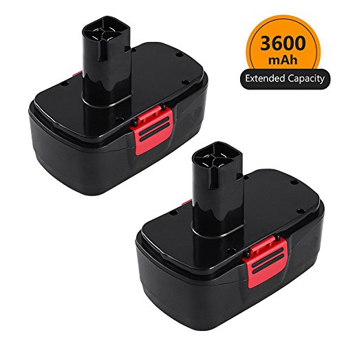 [Upgraded to 3600mAh] 3.6Ah Ni-Mh Replace for Craftsman 19.2 Volt Battery Diehard C3 11375 130279003 130279005 130279017 1323517 1323903 Cordless Power Tool Batteries 2 Pack