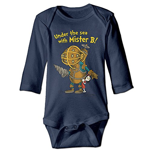 HYRONE Bioshock Game Poster Baby Bodysuit Long Sleeve Romper Suits Size 24 Months Navy (Ps3 Tow Truck Games)