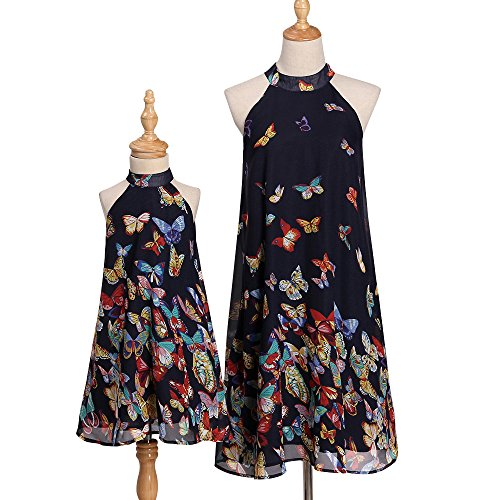 PopReal Mommy and Me Vintage High Neck Off-Shoulder Butterfly Print Party Beach Family Matching Dress ()