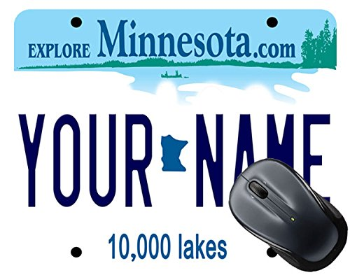 BleuReign(TM) Personalized Custom Name Minnesota State License Plate Square Mouse Pad - Minnesota Twins Mouse