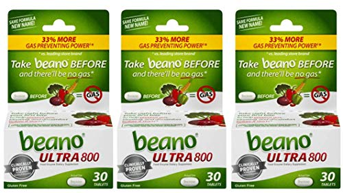 beano Ultra 800 Gas Prevention, Food Enzyme Dietary Supplement, Help Digest Gas-Causing Foods, 30 Tablets, Pack of 3