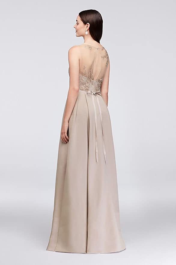 4c85ff0914 Appliqued Illusion Faille Bridesmaid Dress Style OC290023 at Amazon Women s  Clothing store
