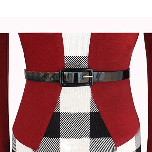 Kleid June's Rot mit Gefälschte Business Houndstooth Gürtel BleistiftKleid Bodycon Tartan Young Damen Zweiteilige RT8qxARr
