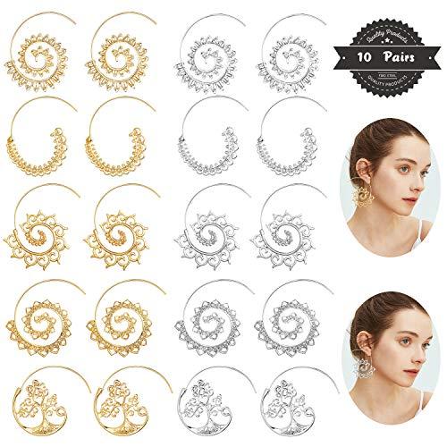 FIBO STEEL 10 Pairs Spiral Hoop Earrings Set for Women Girls Vintage Tribal Swirl Earrings