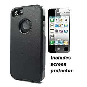 Black Gray Hard Outer Shell Soft Gel Inner Combo Dual Layer Hybrid Apple iPhone 5 Cover Case w/ Screen Protector