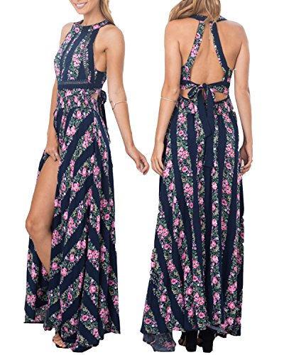 Tempt Womens Halter Backless Floral