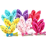 Elisona-12pcs Rabbit Ear Hairpin Hair Clip for Pet Puppy Dog Cat Hair Grooming Accessory Random Color