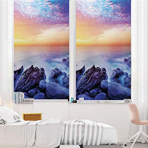 Seaside Decor 3D No Glue Static Decorative Privacy Window Films, Dream Sky with Rainbow Colors in The Morning Seascape Fantasy Imaginary Planet Photo,17.7