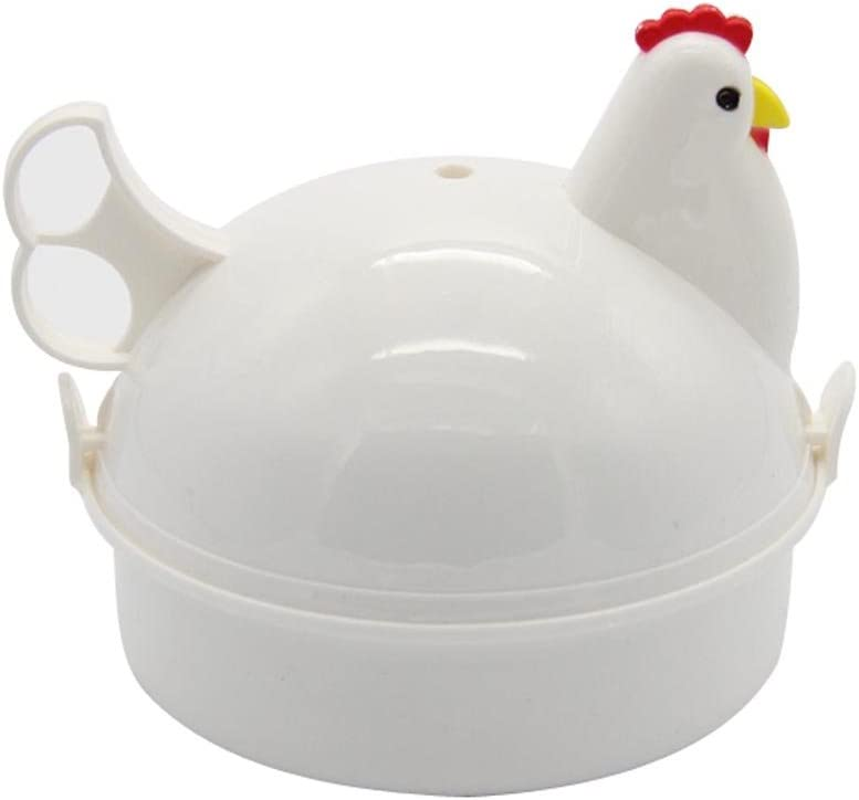 Mochiglory Chicken Shape Microwave Egg Poacher 4 Eggs Boiler Steamer