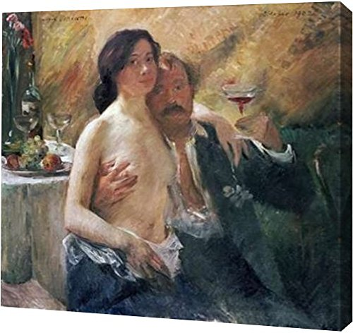 """PrintArt GW-POD-64-264740-16x14 """"Self Portrait With Nude Woman and Glass"""" by Lovis Corinth Gallery Wrapped Giclee Canvas Art Print, 16"""" x 14"""""""