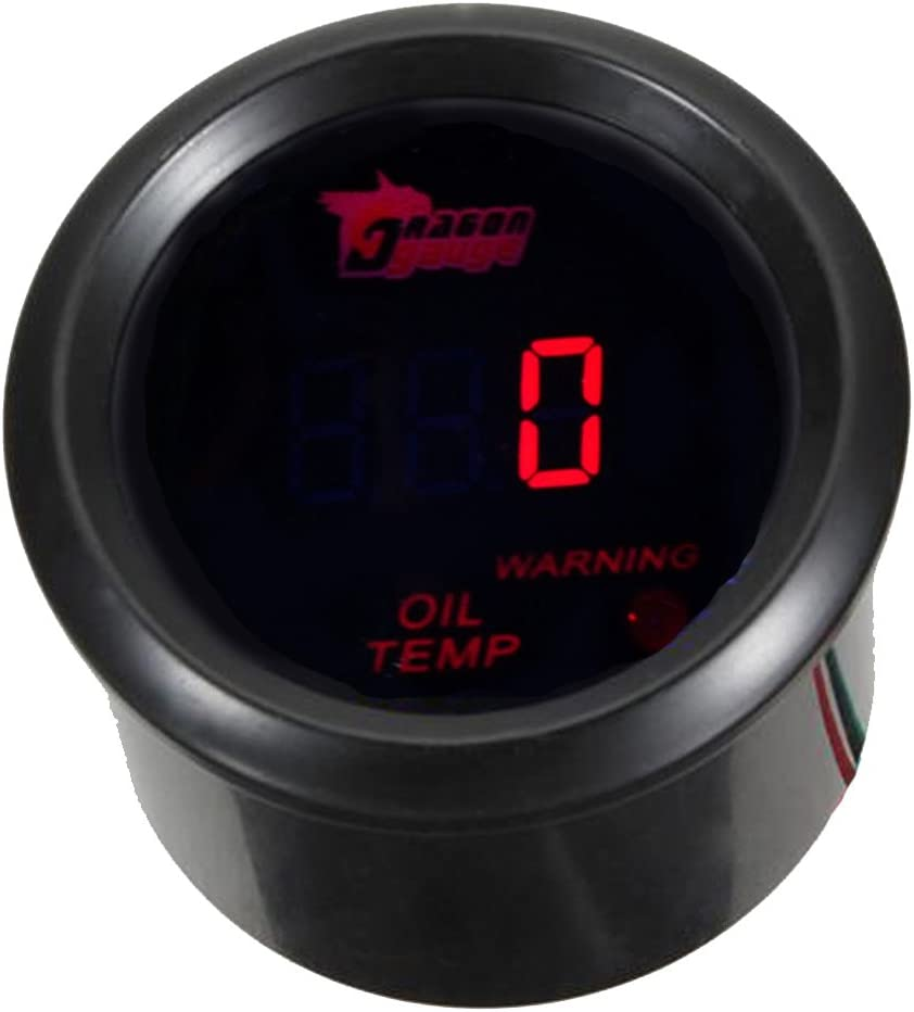 "ESUPPORT Car 2"" 52mm Digital Oil Temp Gauge Red LED Light Temperature Meter"