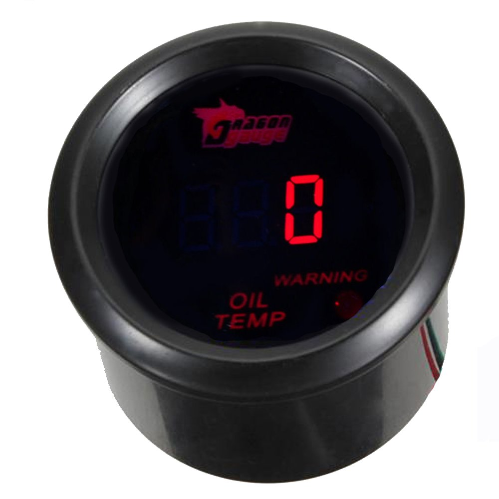 Etopars™ 2' 52mm Black Car Auto Digital Red LED Light Oil Temp Temperature LED Gauge Meter