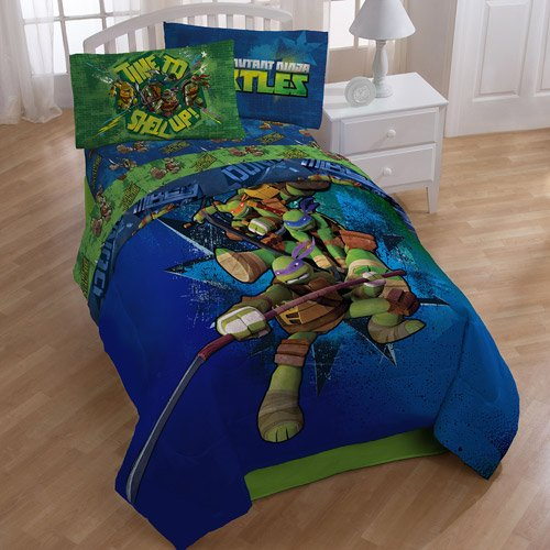 Teenage Mutant Ninja Turtles Twin Bedding Comforter and Sheet Set TMNT (Bed Turtle Sheets)