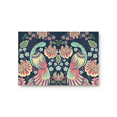 (YEHO Art Gallery Doormat for Indoor Outdoor Entrance Rug Floormat,Bedroom Bathroom Living Room Front Mats Carpet,Chinese Style Phoenix with Flowers Birds Pattern,16x24 Inch)