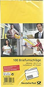 deutsche post 100 umschl ge din lang wei haftklebend mit fenster german version. Black Bedroom Furniture Sets. Home Design Ideas