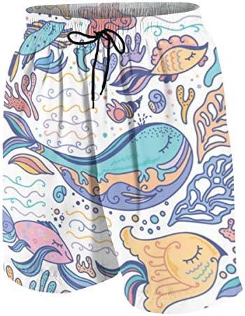 キッズ ビーチパンツ 和風 カラフルな海 シャチ クジラ サーフパンツ 海パン 水着 海水パンツ ショートパンツ サーフトランクス スポーツパンツ ジュニア 半ズボン ファッション 人気 おしゃれ 子供 青少年 ボーイズ 水陸両用