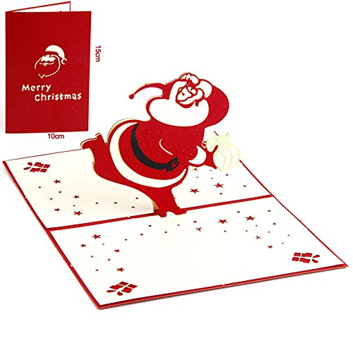 Christmas Greeting Card - 3D Pop Up Santa Claus Christmas Holiday Handmade Postcards Greeting Card - Cintage Christmas Cards - 3D Christmas Cards - Christmas Card for Kids
