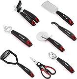 Holstein Housewares HK-07009B-BU 8-Piece Kitchen Gadgets Set - Black/Red