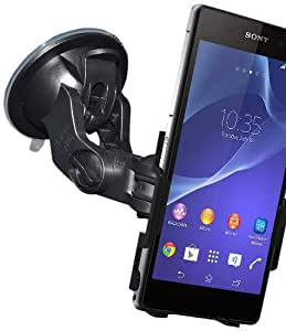 Amzer Suction Cup Mount for Windshield/Dashboard/Console for Sony Xperia Z2 - Retail Packaging - Black