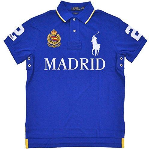 Polo Ralph Lauren Mens Big Pony City Custom Fit Mesh Polo Shirt (Blue/Madrid, Large)