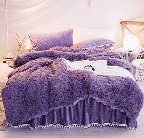 Ceruleanhome 1pc 100% Velvet Flannel Duvet Cover, Solid Color, No Inside Filler, Zipper Close (Purple, Queen 1pc Duvet Cover) (Cover Velvet Duvet Black)