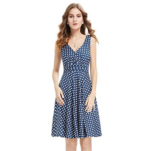 HORUES Alisa Pan Summer Casual Dress V-Neck Sleeveless A-line Blue Dot Women Knee Length Loose Sexy Cheap Dresses ()