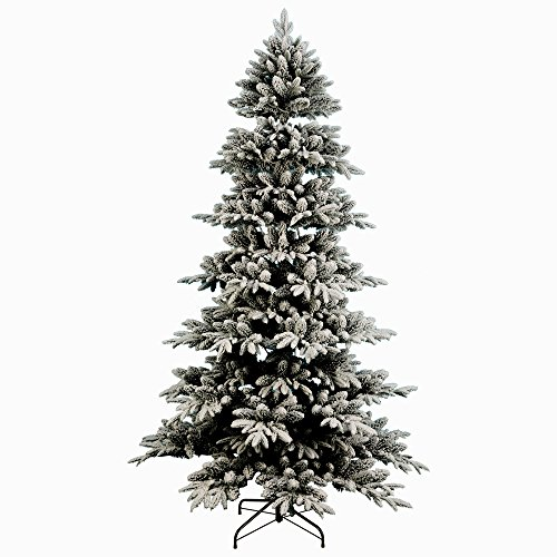 Artificial Christmas Tree. Fake 7.5 Foot Xmas Flocked Pine. It's Classic Fir Shape Looks Neat & Natural, Dense, Lush Foliage. Beautifully Flocked Branches. Great For Indoor, Holiday Season Party Decor by Artificial-Christmas-Tree