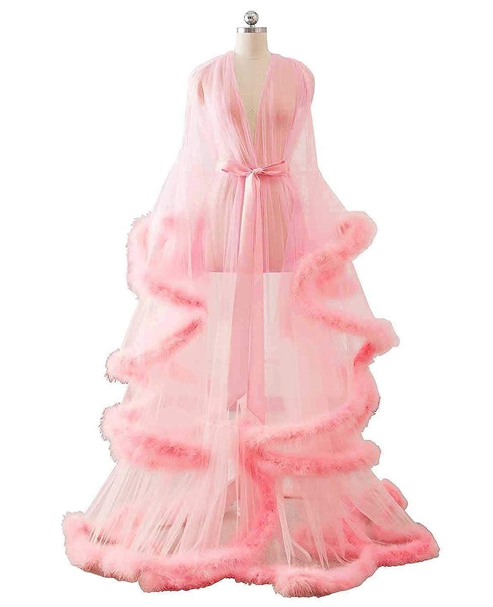 bluesh Michealboy Women Long Dressing Gowns Housecoat Nightwear Tulle Plush Fur Cuff