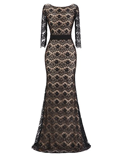 Sarahbridal Women's Mermiad Formal Prom Evening Dresses Half Sleeve Lace Applqiue Mother of Groom Gowns Black US8