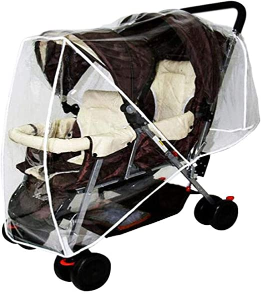 TWIN BABY Stroller Cart Universal Pushchair DOUBLE Rain Cover Dust Wind ShielL/_D