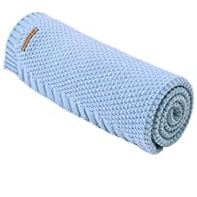 mimixiong Baby Blanket Knit Toddler Blankets for Boys and Girls Blue 40 x30 Inch