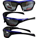 Global Vision Fast Track Motorcycle Sunglasses Blue, Black, Silver Three-Color Design Frames with Flash Mirror Lenses