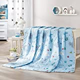 LOVO Children Comforter Set Bedspread Printed Summer Lightweight Thin Coverlet for Kid, Blue, Twin