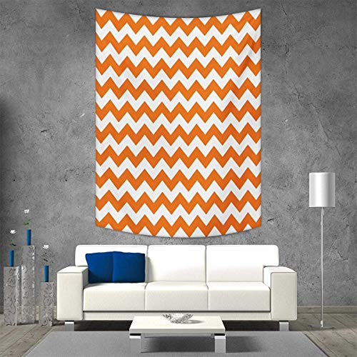 smallbeefly Chevron Wall Hanging Tapestries Halloween Pumpkin Color Chevron Traditional Holidays Autumn Season Celebrate Large tablecloths 70W x 84L INCH Orange White -