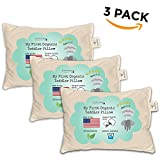Toddler Pillow - ORGANIC Cotton MADE IN USA - Hypoallergenic Washable Unisex kids pillow - 13X18-3 pack
