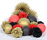 PAPER JAZZ Chinese new year wedding birthday Christmas Xmas party holiday home decoration kit tissue paper lantern pom pom fan red white green black gold (RED GOLD BLACK)