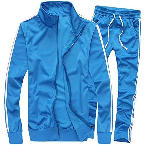 MACHLAB Men's Activewear Full Zip Warm Tracksuit Sports Set Casual Sweat Suit Light Blue XL