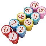 10 number stamps - Zehui Kids Cute Plastic Self Inking Stamper Toys Baby DIY Craft 10pcs/set 1-10 Numbers Rubber Stamp Set