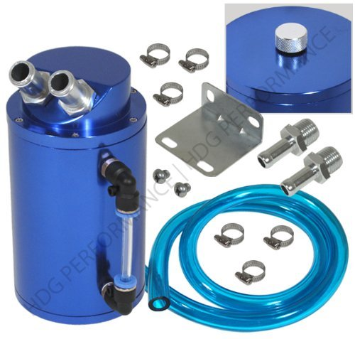 Universal 750ml Capacity Aluminum Oil Catch Reservoir JDM Cylindrical Tank Blue