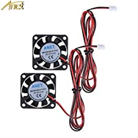 Anet Brushless DC Cooling Fan for 3D Printer Hot End, 2 Packs 40mm x 40mm x 10mm 4010 12V 0.12A 2 Pin 3D Printer Fans Black by Anet