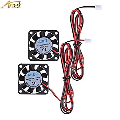 Anet Brushless DC Cooling Fan for 3D Printer Hot End, 2 Packs 40mm x 40mm x 10mm 4010 12V 0.12A 2 Pin 3D Printer Fans Black