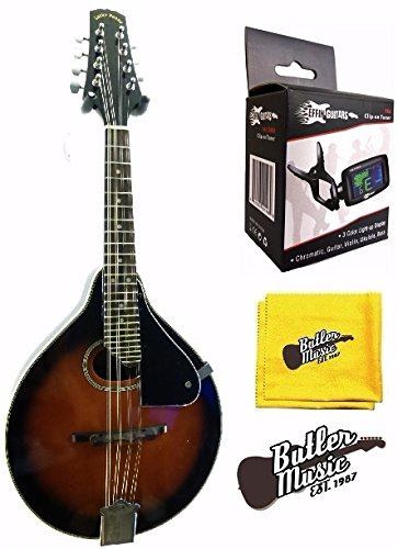 Lucky Penny LPM-30 ''A'' Style Redburst Spruce Top Mandolin w/Clip-on Tuner and More by Lucky Penny